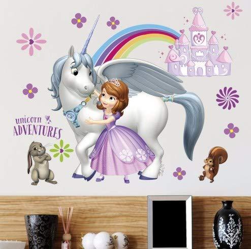 CTMS Prinzessin Sofia Wandaufkleber für Kinderzimmer DIY Wandtattoo Einhorn Abenteuer Poster Mädchen Cartoon Aufkleber