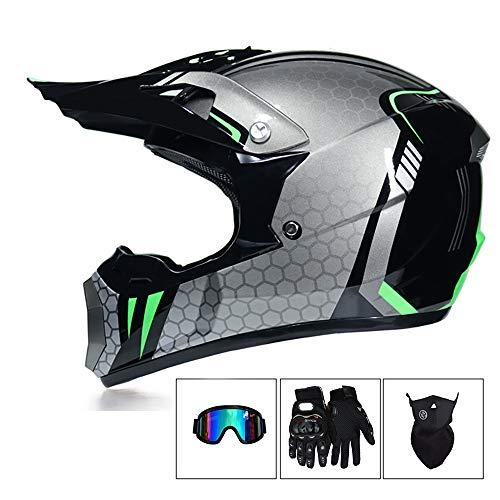 CX ECO Off Road Helm Motocross MX Motorradhelm ATV Dirt Bike Helm D.O.T Zertifizierung Teen Erwachsene Motorrad Vier Jahreszeiten Leichte Helm,Gray,L