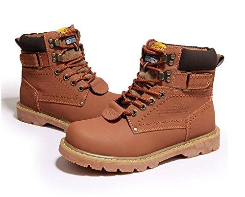 Brinny Herren Worker Boots Outdoor Schuhe Warm Gefüttert Profil Sohle Hellbraun