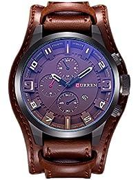 Curren los hombres de moda militar Classic correa de piel reloj, calendario, la fecha de cuarzo (marrón)