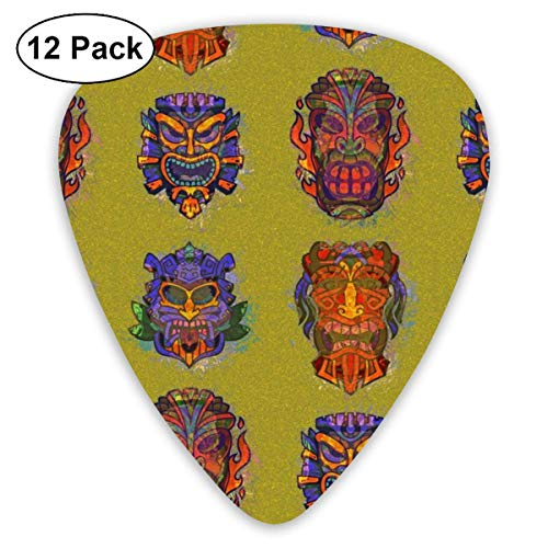 TIKI BLUE ORANGE PURPLE GRUNGE ON MOLTED LIME CHARTREUSE GREEN HAWAII POLYNESIAN_1674 Classic Celluloid Picks, 12-Pack, For Electric Guitar, Acoustic Guitar, Mandolin, And Bass Lime Green Music Box