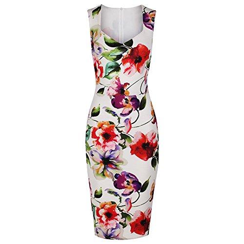 Pretty Kitty Fashion Damen Kleid weiß elfenbeinfarben Gr. X-Small, elfenbeinfarben (Wiggle Pin Kleid)