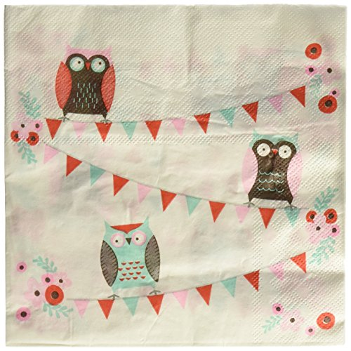 Ginger Ray Owl Papier Party Servietten - (Party Owl Dekorationen)