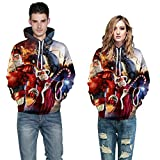 Hmeng 3D Digital Print Athletische Pullover Hoodie mit Kapuze Christmas Sweatshirts (Mehrfarbig, L/XL)
