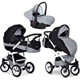Riko NANO 3in1 Kombikinderwagen Babywanne Buggy Autositz Babyschale 0-13 kg Multifunktional und mit XXL Ausrüstung, Farbe:Carbon