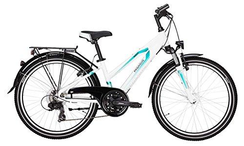 Pegasus Kinderfahrrad 24 Zoll weiß Avanti girl Trekkingrad - Shimano Schaltung 21 Gänge, Licht, Gepäckträger