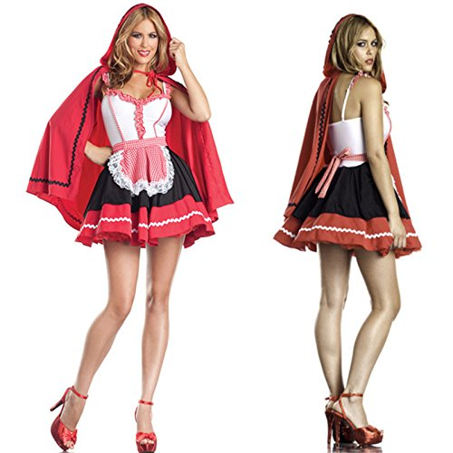DLucc Halloween-Kostüm Rotkäppchen fee frau c Disney Prinzessin Kleid -Rollenspiel für Erwachsene ()