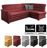 Cavadore Ecksofa Pisoo / Eckcouch mit Schlaffunktion / L-Sofa mit hochwertigem Federkern im klassischen Design / Ottomane rechts / Größe: 245 x 89 x 161 cm (BxHxT) / Farbe: Rot (bordeaux)