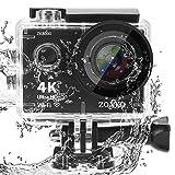 Action Caméra ZONKO 4K Ultra HD WiFi Sports Caméra 12MP 170 Degrés Grand-Angle Objectif 30 M Caméra Étanche pour Plongée sous-Marine Snorkeling Inclure 19 Accessoires Kit …