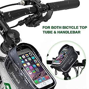 51ZB5YKc8 L. SS300 Hommie Borsa del Telaio Bici Impermeabile con 6,2 Pollici, Borsa Cellulare Bici con Striscia Riflettente, Marsupio Bici Mtb per iPhone, Samsung Galaxy, Huawei Nero