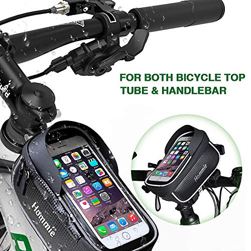 Bolsa Bicicleta Impermeable, Hommie Bolsa Bici Manillar con Funda Lluvia y Cable Extensión, Soporte Móviles de 6.2 iPhone Xiaomi Huawei Samsung, Bolsa Bici de Pantalla Táctil y Visera de Sol, Negro