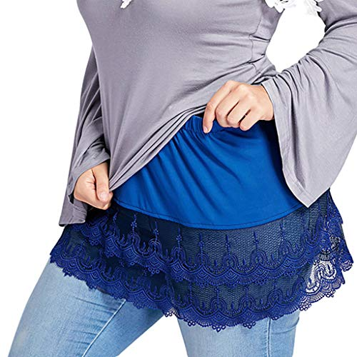 BHYDRY Frauen Geschichteten Tiered Schiere Spitze Trim Extender Half Slips Plus Size Rock(Medium,Blau)