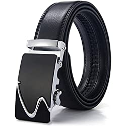 OMIAX™ Men's Leather Ratchet Designer Belt, Automatic Solid Buckle, Adjustable Belt Without Holes, Length 130cm, Width 3.5cm (Style 19)