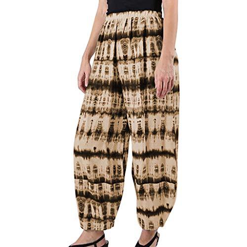 Damen Yoga Hose High Waist Brasilien Pluderhose Pumphose Hippie Lockere Weiße Hosen fürSommer Weitem Bein Haremshosen Vintage Casual Mandala Druck Laufen Sport Pants Fitnesshose Sporthose (Brasilien Motto Kostüm)
