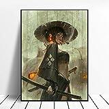 ZWXDMY Leinwand Bild,Japanische Frau Rauchen Strohhut Schwertkämpfer Abstraktion Kunst Farbe Wand Dekorative Dekoration Drucken Leinwand, Kunst Wandbild Poster Bild, 70 X 100 cm
