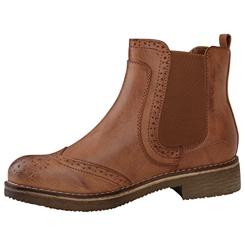 Stiefelparadies Damen Stiefeletten Velours Chelsea Boots Leder-Optik Booties London Style Übergrößen Gr. 36-42 Blockabsatz Schuhe Flandell Hellbraun Cabanas