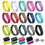 i-smile 15PCS bande di ricambio con fermagli metallici per Fitbit Flex/wireless Activity braccialetto sport Wristband (no Tracker, bande di ricambio solo)