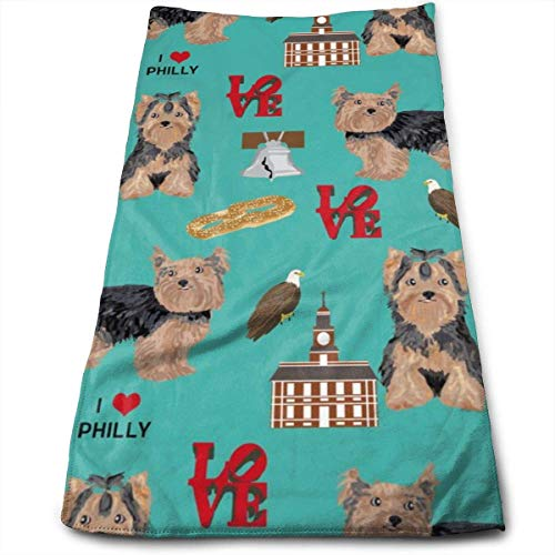 Wodann Yorkie Philly Hunderasse Philadelphia Yorkshire Terrier Petrol/Handtücher Geschirrtuch Floral Leinen Handtuch 11,8