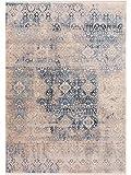 Benuta Teppich Vintage Safira Beige/Blau 100x156 cm - Vintage Teppich im Used-Look