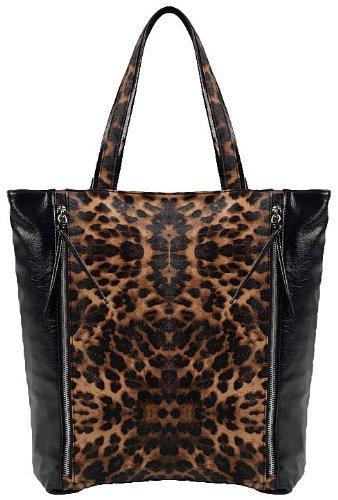 EyeCatch - Julianne Damen Schultertasche Handtasche Shopper aus Kunstleder mit Leoparden Muster, bronze