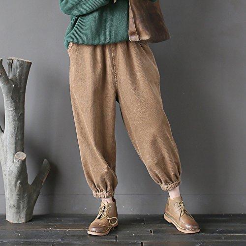 Aeneontrue Femmes Élastique Waist Harlan Velours Côtelé Causal Pantalon avec Poches Automne-Hiver Nouveau Kaki