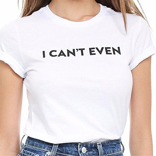 Womens Blancs Ne Peuvent Meme Pas Lettre Imprimee A Manches Courtes T-Shirt Lache Chemises Tee Nouvelle Blanc
