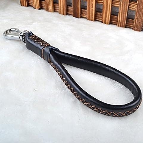 K&C all'aperto cibo per animali che camminano cintura di cuoio cucito intrecciata cane vero e proprio tira corda grossi cani neri