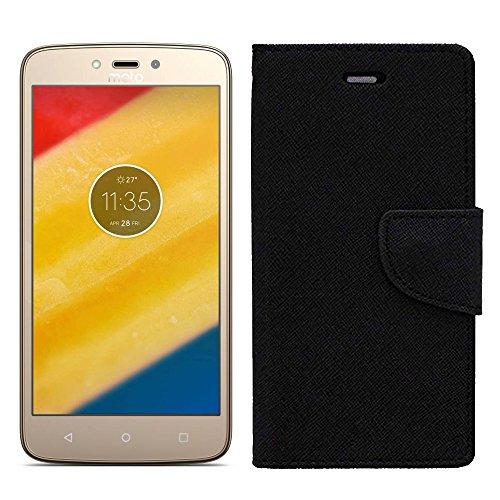 Roxel Luxury Leather Flip Mercury Diary Wallet Back Case Cover for Motorola Moto C Plus-Black