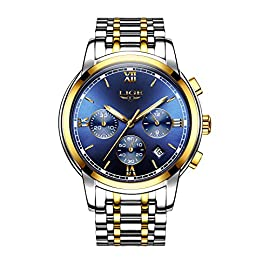 Men's Chronograph Watches Classic Waterproof Full Steel Business Quartz Sports Analogue Wrist Watch with Calendar (Gold)