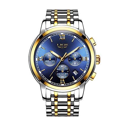 Men's Chronograph Watches Classic Waterproof Full Steel Business Quartz Sports Analogue Wrist Watch with Calendar (Gold)
