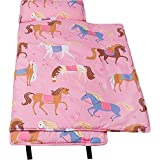 Nap Mat Olive Kids by Wildkin Microfiber Children's Nap Mat with Built in Blanket and Pillowcase, Pillow Insert Included, 100% Microfiber, Children Ages 3-7 years – Horses