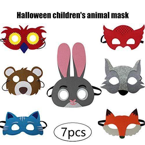 Filz Eule Kostüm - WYQWAN Halloween Tier Filzmaske Kind Halloween Dress Up Kaninchen Fuchs Eule Katze Grauer Wolf Geburtstagsfeier Geschenk Kinderkleidung Dress Up Party Supplies (7pcs)
