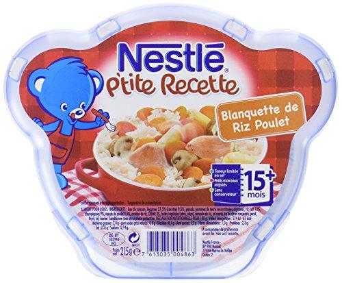 Nestlé Bébé P'tite Recette Blanquette de Riz et Poulet Assiette dès 15 mois 215g - Lot de 6