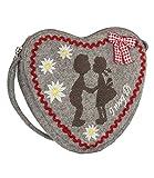 SIX Umhängetasche: Kleine Handtasche in Herzform aus Filz, mit Stickereien und Vichy-Karo-Schleife, ideal als Trachtentasche, grau (427-883)