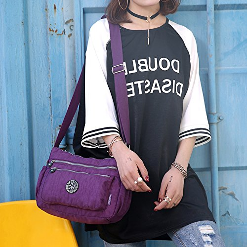 Outreo Kuriertasche Damen Umhängetasche Designer Schultertasche Mode Taschen Leichter Messenger Bag Reisetasche Lässige Wasserdicht Sporttasche Lila