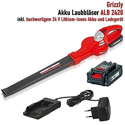 Grizzly Akku Laubbläser ALB 2420, Blasgeschwindigkeit 217 km/h, Sehr Leise, Dauerbetrieb ca. 20 Minuten, Inkl. Akku 2 Ah und Ladegerät, 24 V Akkusystem