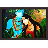 Mad Masters Lord Krishna And Radha In Watercolor Art 1 Piece Wooden Framed Painting |Wall Art | Home Décor | Painting Art | Unique Design | Attractive Frames