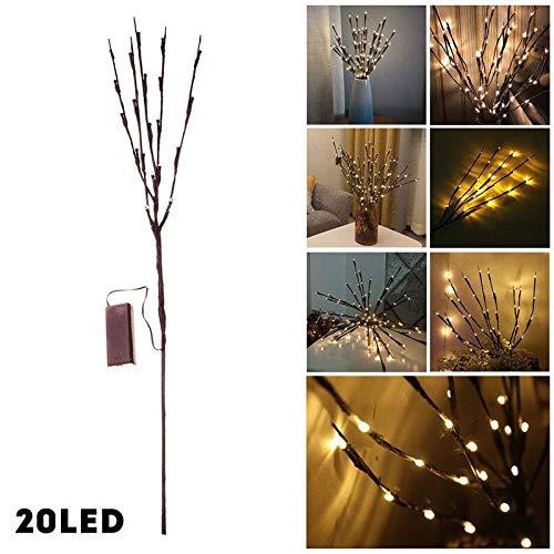 SAMTITY Zweiglichter, beleuchteter Zweig mit LED-Lichtern 20 LED-Stecker wasserdicht für Erntedankfest im Innenbereich (ohne Vase)