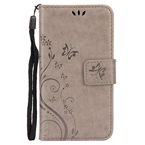 URFEDA Schmetterling Schutzhülle für Apple iPhone 6 6s Hülle Butterfly Flip Case Wallet Cover mit Strap Tasche PU Leder Handytasche Lanyard Handyhülle Schutz Hüllen im Bookstyle Ledertasche mit Stand  #1 Grau