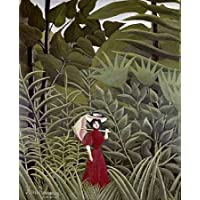 Woman with an Umbrella in an Exotic Forest - Fine Art Print on Fine Art Canvas - Print ON Canvas ONLY -NO Frame - Image Size is 28 x 35 Inch Wall Painting
