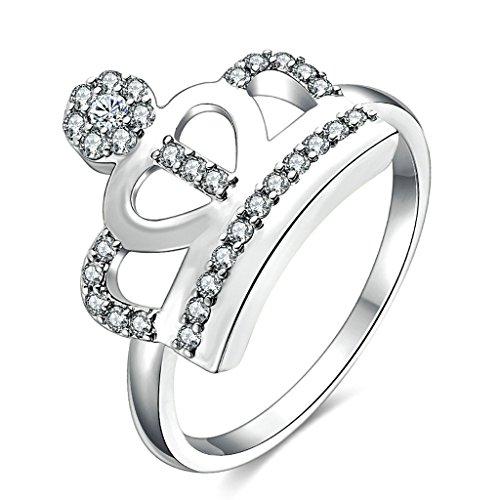Daesar Gioielli Placcato Oro Anelli Donna Anello di fidanzamento personalizzata Principessa Corona Anelli Anelli Perle Argento