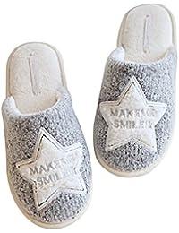 Sasairy Zapatillas de Estar por Casa Algodón Zapatos Felpa Calentar Anti-Slip Mujer para Otoño y Invierno