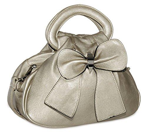 Big Handbag Shop - Borsa Da donna Metallic -Champagne