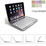 TechCode Ipad Mini 2 Case with Keyboard, 7 Color Folio Backlit Colorful Bluetooth Wireless Keyboard Executive Multi Function for 1/2/3 7. 9 inch (Ipad 1/2/3, Silver)