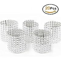 SwirlColor Bling Rhinestone Napkin Rings - 20 Pcs (silver)
