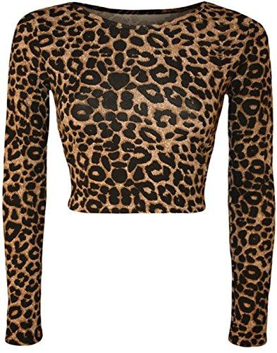 Fashion Trendz-Col rond de -Femme Leopard Skull rose Zebra Comic Imprimer manches longues Crop Top LEOPARD BROWN