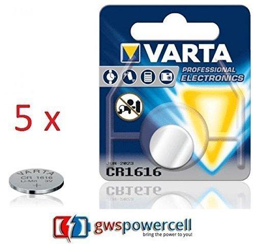 GWS POWERCELL VARTA PROFESSIONAL LITHIUM CR1216 / CR1220 / CR1225 / CR1616 / CR1620 / CR1632 / CR2016 / CR2025 / CR2032 / CR2320 / CR2430 / CR2450 chacun im Blister individuel Emballé / NOUVEAU ET DANS L'EMBALLAGE D'ORIGINE (CR1616, 5 Pièces)