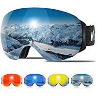 Kuyou Ski Goggles - Large Spherical Frameless Snow Goggles Interchangeable Lens OTG Double Lens Snowboard Goggles Anti-fog Shatterproof 90°Bendable UV400 Protection for Men Women Youth Skiing