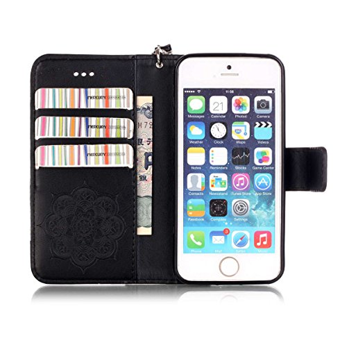 iPhone 5S Coque, iPhone SE Coque, Lifeturt [ Violet Campanula ] Leather Case Wallet Flip Protective Cover Protector, Etui de Protection PU Cuir Portefeuille Coque Housse Case Cover Coquille Couverture E02-Black Campanula23