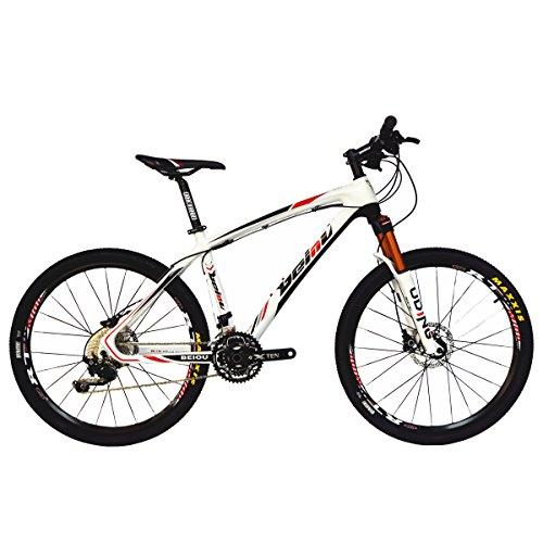 Beiou Carbonfaser-Mountainbike, keine Vibration, Shimano-M610-Deore-30-Schaltung, ultraleicht 10,8kg, RT 26,professionelle externe Toray-Verkabelung T800,CB005, rot, 19-Inch -